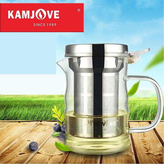 free shipping Kamjove new elegant cup tea cup flower tea pot heat-resistant glass tea set brewing device glass teapot coffee pot