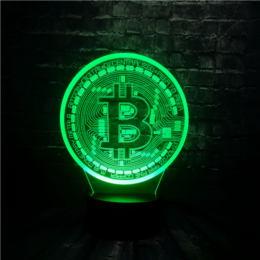 New 3D Illusion LED 7 Color Change USB Base Luster Acrylic Panel Bitcoin Room Decor Bedside Night Mood Lamp Holiday Friend Gift