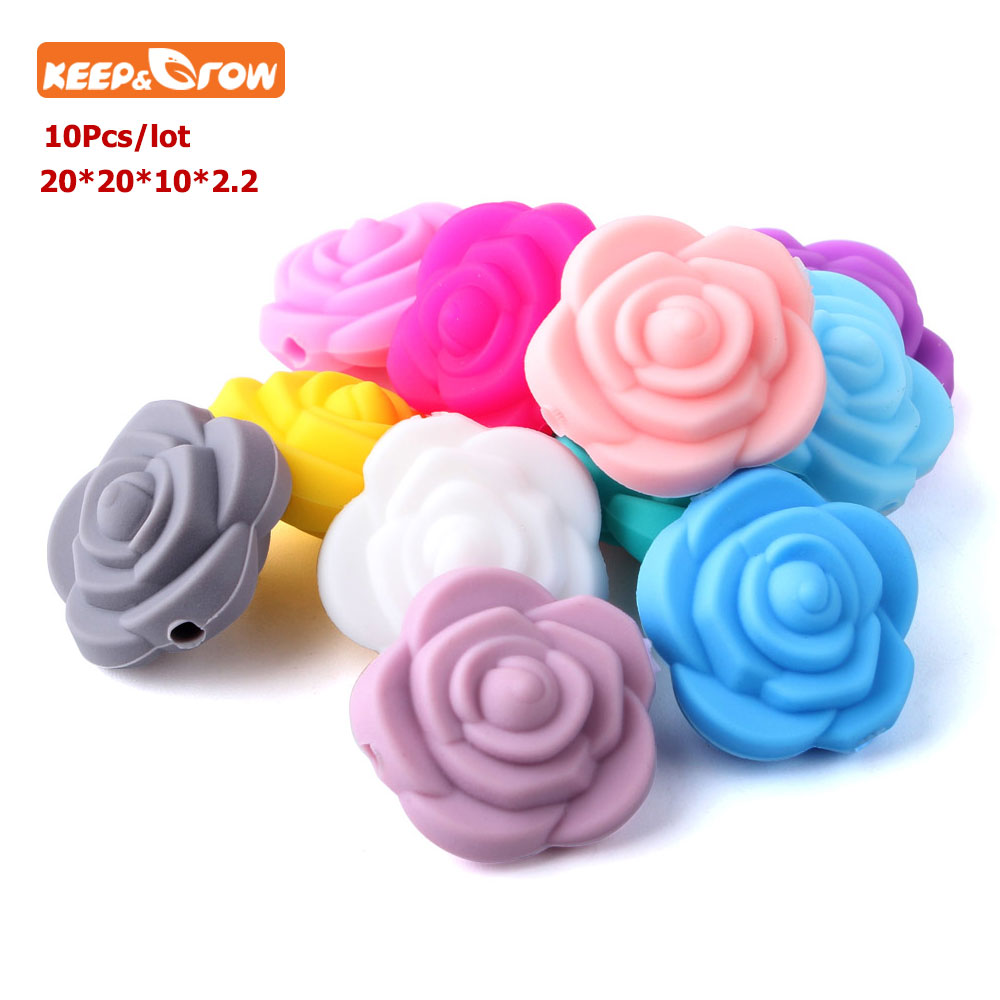 Keep&grow 10Pcs Perle Silicone Beads Dentition 20mm Flower Baby Teethers BPA Free Rose Baby Teething Toys For DIY Jewelry Making