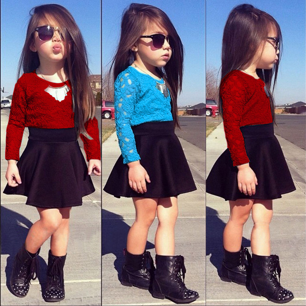 Hot sale fashion kid 2PCS outfit set Kids Baby Girls Clothes long sleeve lace T-shirt Tops Tracksuit+ black skirts clothes Set hot 0 4y toddler baby boy girl clothes long sleeve hooded t shirt tops and striped pant 2pcs outfit kids clothing set tracksuit