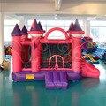 Yard rosa divertidos castillos saltarines inflables para niños casa de moda con silde inflable