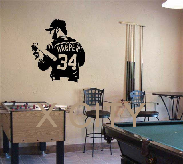 BRYCE HARPER Washington Nationals Baseball Dorm Decor Silhouette WALL ART STICKER VINYL DECAL ROOM STENCIL MURAL