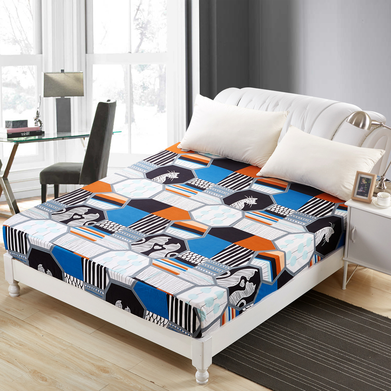 MECEROCK 2018 New Polyester Bed <font><b>Sheet</b></font> Printed <font><b>Sheet</b></font> with Elastic Band Mattress Cover Hot Sale Fitted <font><b>Sheet</b></font> with Rubber Band