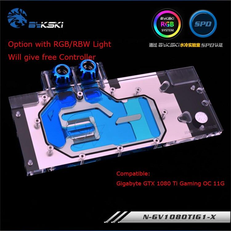 Bykski N-GV1080TIG1-X GPU bloc de l'eau pour GIGABYTE GTX 1080 Ti Gaming OC 11g carte graphique refroidisseur rgb/rbw lumière système refroidi