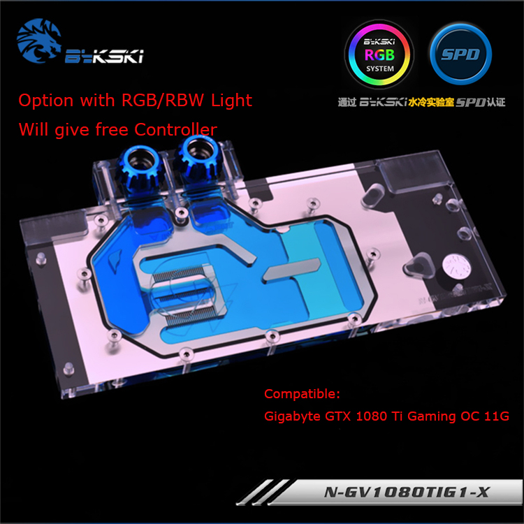 Bykski N-GV1080TIG1-X GPU water block for GIGABYTE GTX 1080 Ti Gaming OC 11G graphics card cooler rgb/rbw light system cooled bykski full coverage gpu water block for gigabyte aorus gtx 1080 ti graphics card water cooled head n gv1080tixt x