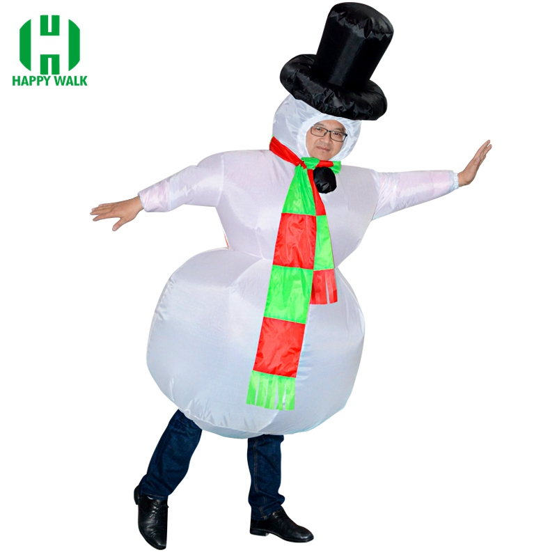 Christmas Carnival Snowman Inflatable Costume Adult Purim Cosplay Costume Blow Up Anime Suit Halloween Costumes for Women Men