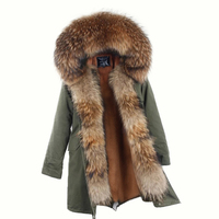 2017 New Winter Long Jacket Parkas Camouflage Army Green Raccoon Fur Collar Hooded Parkas Thick Coat
