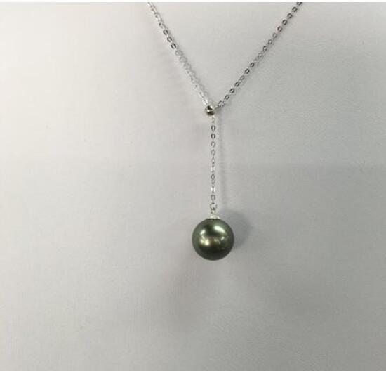 9-10mm Natural Black Tahitian Pearl Pendant S925 silver Pendant Necklace christmas gifts for women Free shipping