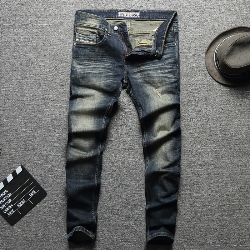 2019 New Fashion Designer Men Jeans Destroyed Ripped Jeans For Men Casual Pants Slim Fit Streetwear Stretch Biker Jeans Trousers