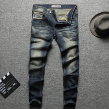 2019 New Fashion Designer Men Jeans Destroyed Ripped Jeans For Men Casual Pants Slim Fit Streetwear Stretch Biker Jeans Trousers new designer dots print biker jeans men character ripped patchwork casual men s jeans pants 100