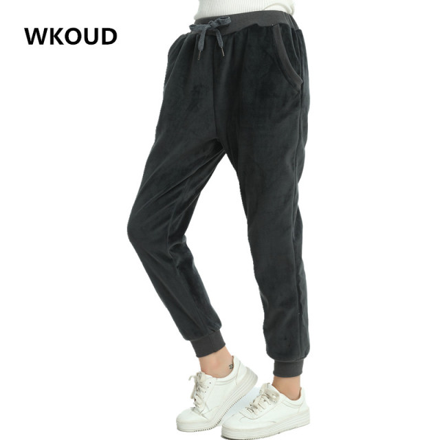 WKOUD Women Winter Velvet Pants Gold Fleeces Thickening Elastic Drawstring Waist Harem Pants Female Warm Hot Trousers P8103 3