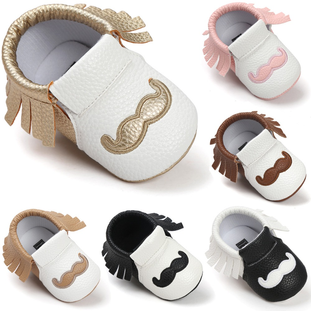 2017 Hot Spring Girls Boys fringe Classics Baby shoes sale New Cute beard Brand Pu leather Toddler Baby moccasins First walkers