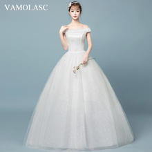 VAMOLASC Elegant Boat Neck Lace Ball Gown Wedding Dresses Off The Shoulder Sequined Backless Bridal Gowns