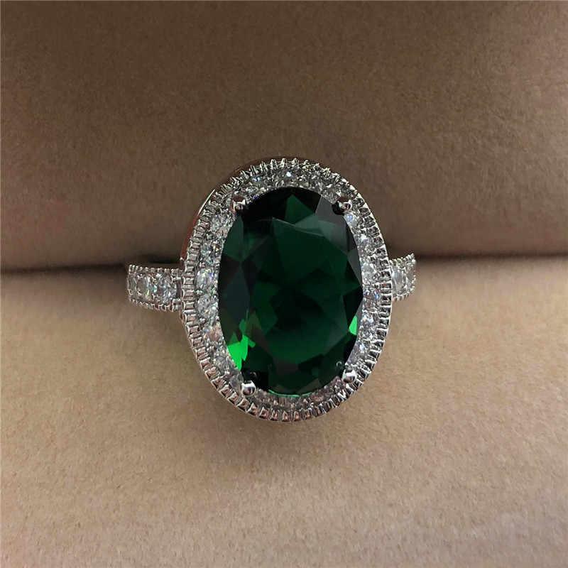 แฟชั่นชายหญิงใหญ่แหวนหรูหราสีเขียวสีแดงสีขาวหินแหวนสัญญาหมั้นแหวนผู้ชายและผู้หญิง