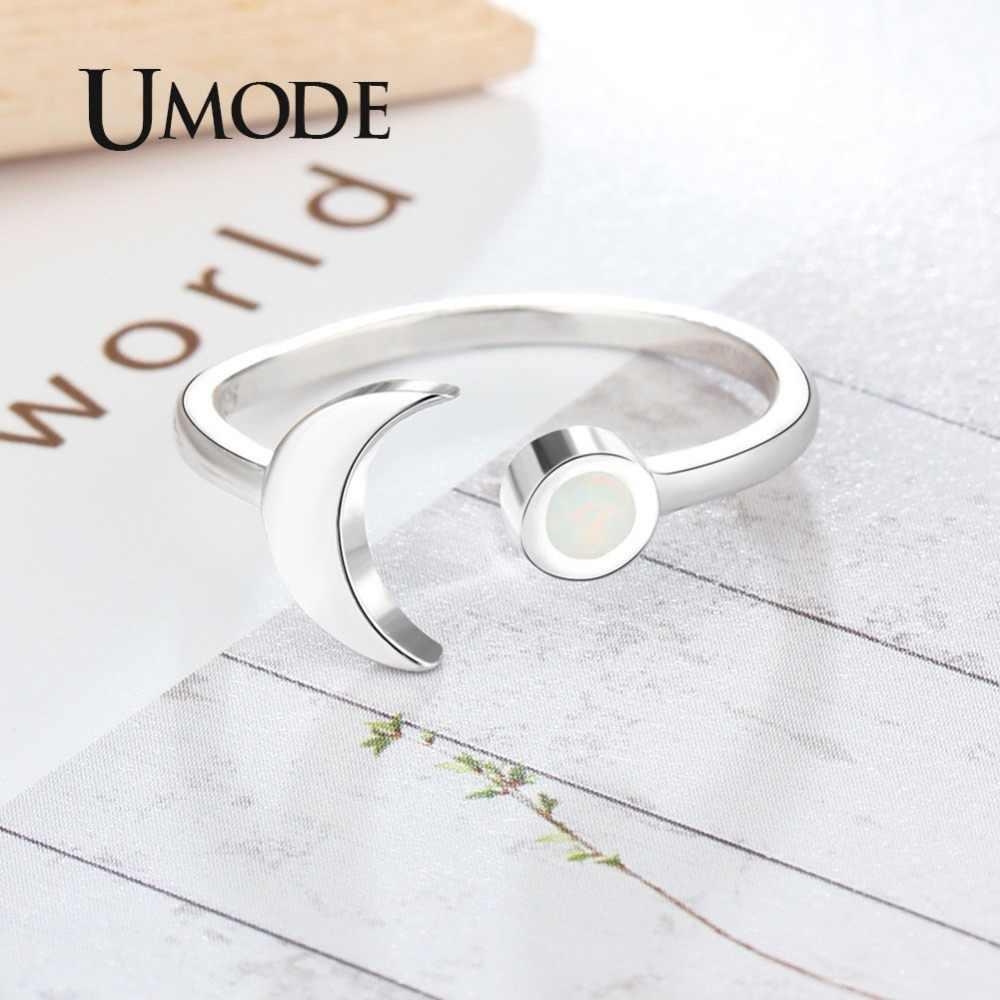 UMODE อินเทรนด์ Moon 925 แหวนเงินสเตอร์ลิงสีขาวธรรมชาติรอบ 2 มม.โอปอลปรับแหวนผู้หญิงโรแมนติกเครื่องประดับ Fine ULR0709