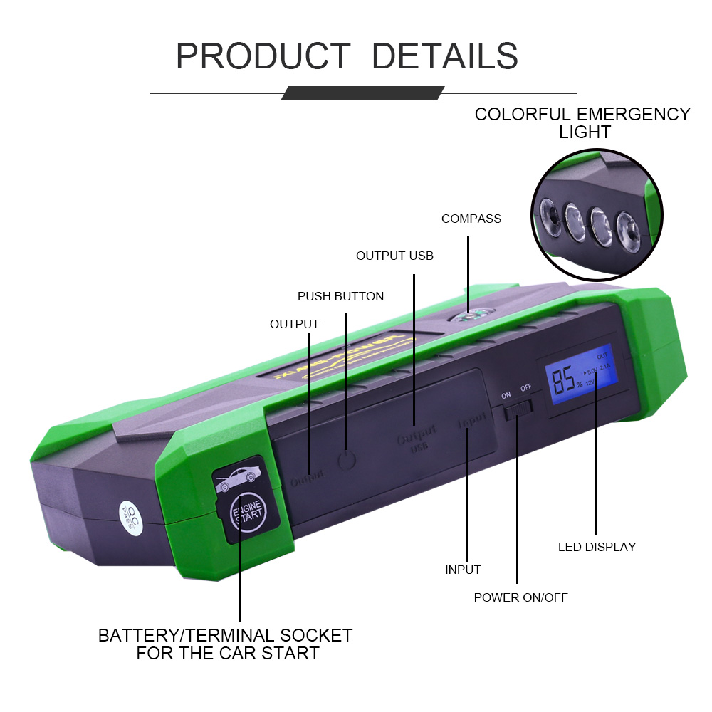 For Petrol 60l Diesel 40l 800a Peak Current Car Jump Starter Start Diagram 18000mah Starting Power Bank Auto Battery Portable Pack Booster In From