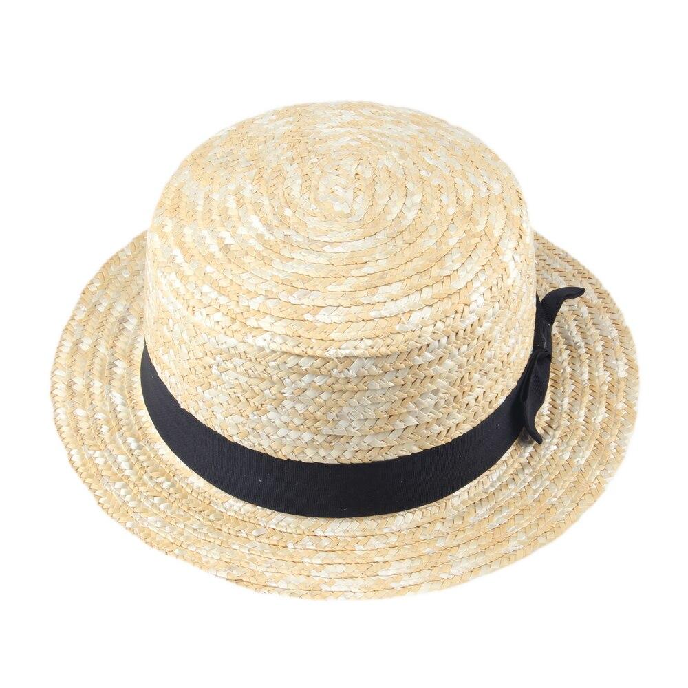 Kopfbedeckungen Für Damen Frauen Dame Boater Sommer Fedora Hut Strand Band Round Flat Top Beige Stroh Fedora Panama Hut Gute Paket 20 Neueste Mode Filzhüte