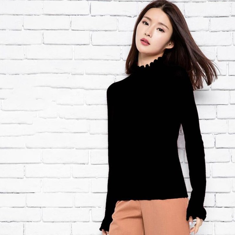 Avec Laine Printemps Manches Coréenne De Chemises Mixte À Mode Longues Beige Tricoté Femmes Et Automne Nouveau Chandail red Mince black 6zEqpxw7q