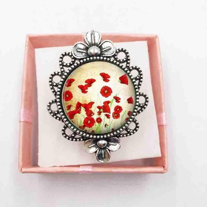 Rouge Pavot collier photo dôme en verre noir chaîne collier pendentif en gros