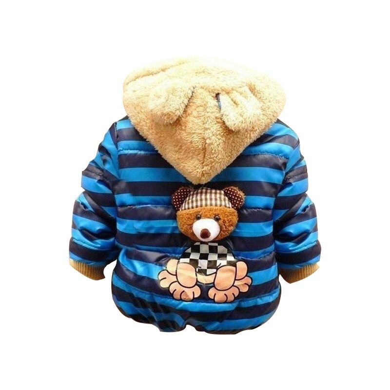 Retail 2017 Baby boys Bear Winter Coat children outerwear Kids cotton thick warm hoodies jacket boys