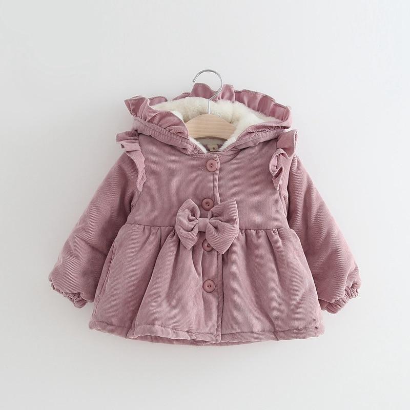 Warm Winter Children Baby Kids Girls Infant Ruffles Hooded Corduroy Thicken Bow Parkas Jacket Coat Cardigan Outwear Casaco S7614