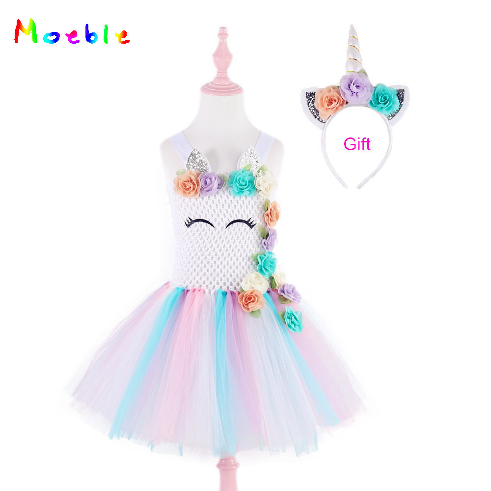 Flower     Girls   Unicorn   Dress   Pastel Rainbow Princess Birthday Party   Dresses   for   Girls   Tutu   Dress   Children Kids Costume Ball Gown
