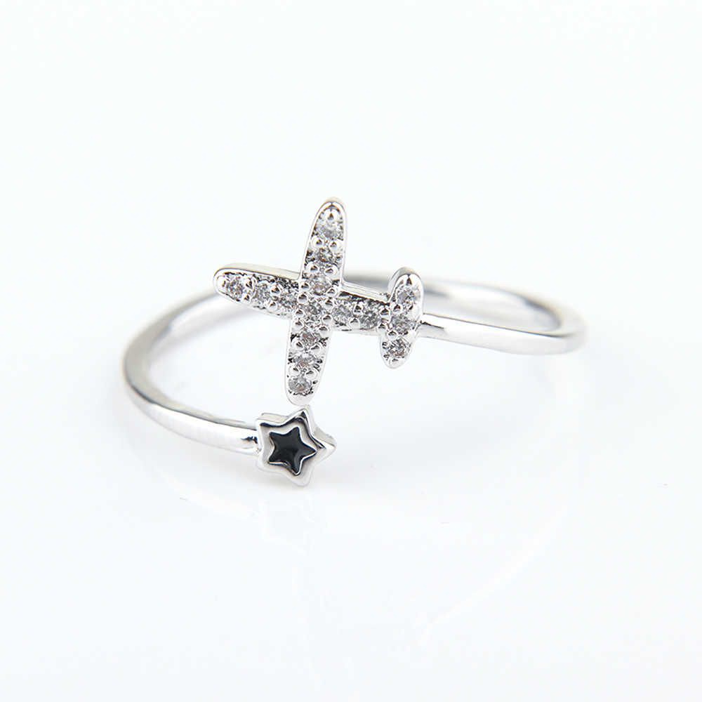 Fashion Charm Silver Color Adjustable Open Ring Plane Star Crystal Ring Women Girl Finger Jewelry Personality Minimalist