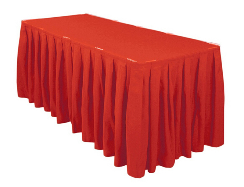 HK DHL Red Accordion Pleat Polyester Rectangular 14ft./420cm Table Skirt for Wedding, 5/Pack