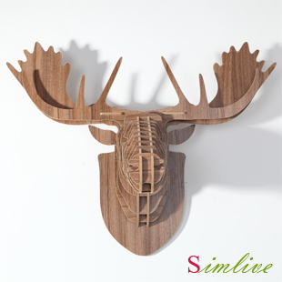 NODIC vente directe Europe style bricolage en bois tête de renne suspendus décoration murale, sculpté orignal tête ornement bois artisanat décor à la maison