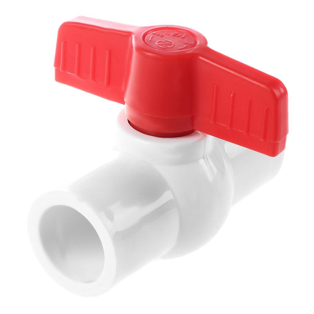 20mm X 20mm Slip Plumbing T Handle Full Port PVC-U Ball Valve White+red
