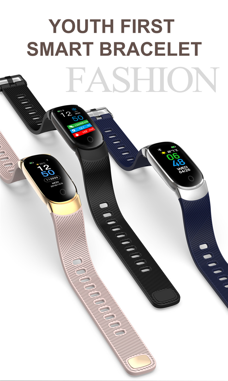 HTB1IIhvaELrK1Rjy1zbq6AenFXaz LIGE Sport Smart Bracelet Women Men Waterproof Smart Watch Heart Rate Blood Pressure Pedometer Smart Wristband For Android iOS