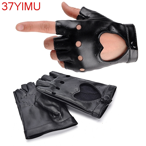 1 Pair Black Women Fashion PU Leather Half Finger Gloves Autumn Winter Solid Cool Heart Hollow Fingerless Gloves