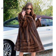 цена на FURSARCAR Luxury Winter New Real Mink Fur Coat Women Fashion Style Genuine Leather Mink Fur Female Coat With Fur Suit Collar