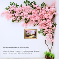 artificial cherry blossom tree Wall pipe interior decoration background cherry blossom cane Fake flowers fake vine Vines make sc