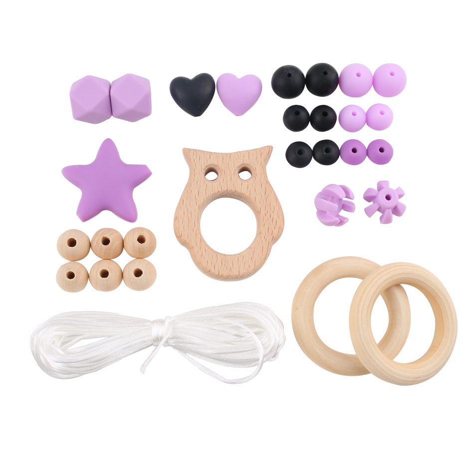 1set Wooden Pendant Silicone Beads For BPA Free Food Grade Materials Handmade DIY Crafts Baby Accessories Nurse Gifts Chew Toys