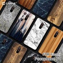 For Xiaomi Pocophone F1 Case Cover Silicone Soft TPU Wood Wo