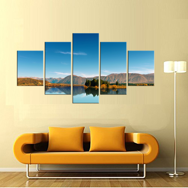 5 Pieces Beautiful autumn tree lakes and mountains the picture Canvas Print Painting Art work decorative painting Framed in Painting Calligraphy from Home Garden