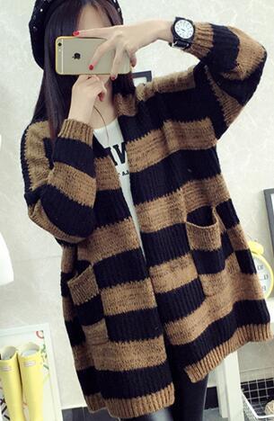 e87216e39253 Click here to Buy Now!! свитер женский кофта женская свитера кофты женские  Колледж ветер длинный свитер куртка свитер ...