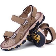 2017 Para Hombre de Cuero Sandalias de Verano de Hombres Zapatos de Deporte Al Aire Libre Sandalias Ocasionales Respirables Zapatillas de Playa antideslizantes Sandalias de Suela de Goma