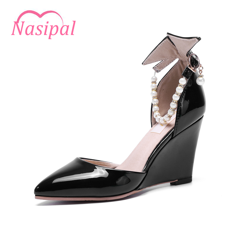 Nasipal Fashion Pumps Woman Shoes Patent Pointed Toe Wedges Heels Srting Bead Pearl Party Shoes Size32-48 Elegant Pumps C040 creativesugar elegant pointed toe woman