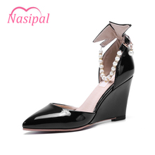Nasipal Fashion Pumps Woman Shoes Patent Pointed Toe Wedges Heels Srting Bead Pearl Party Shoes Size32-48 Elegant Pumps C040