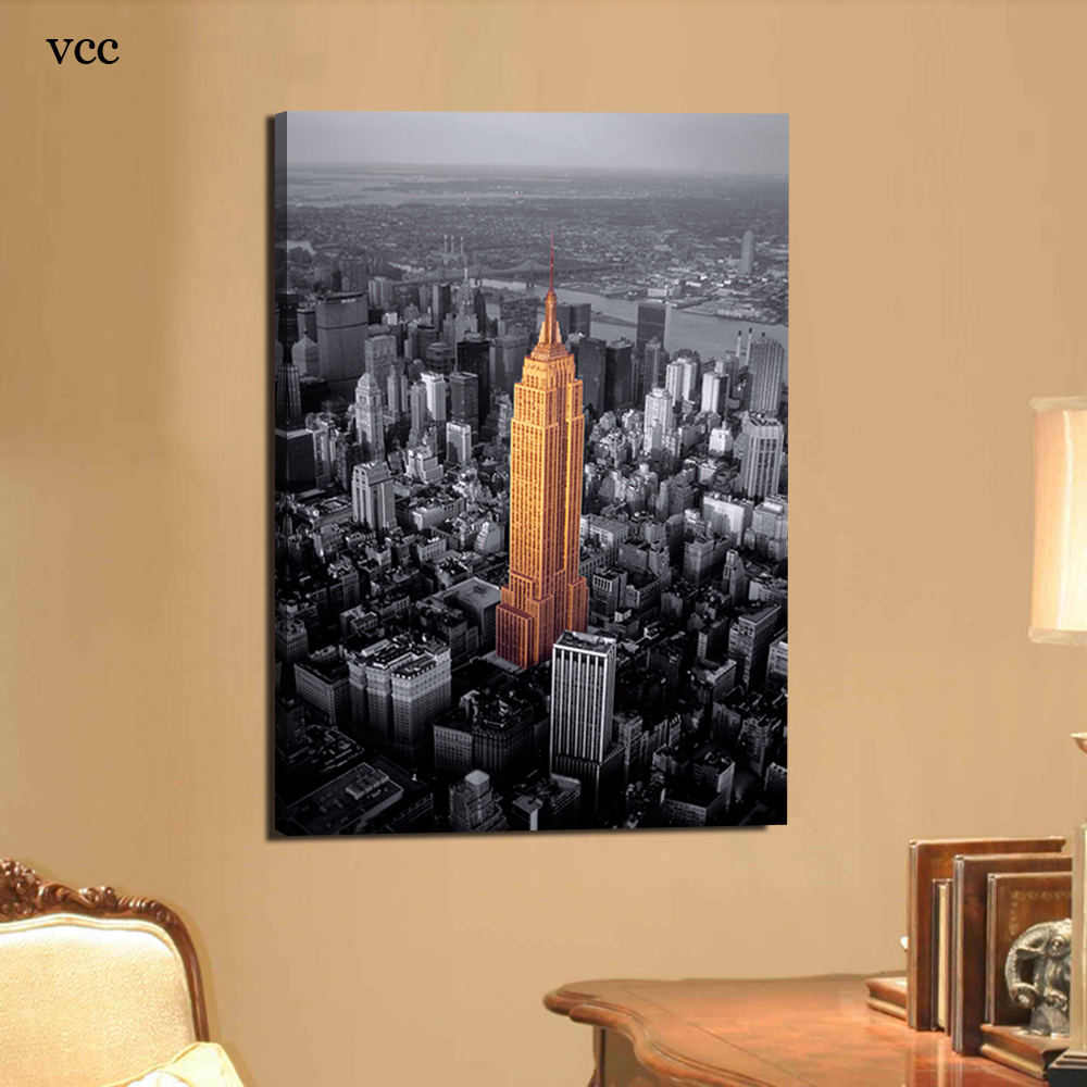 Canvas painting empire state building new york city wall for Living room ideas new build
