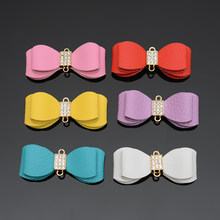 PU Leather Bow knot and Flowers Accessory For Keychain Key chain Cellphone Straps DIY Jewelry Charms Bag Car Pendant Accessories(China)