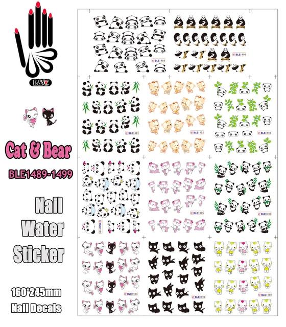 11 Sheets/Lot Art Nail BLE1489 1499 Cartoon Cat & Bear Nail Art ...