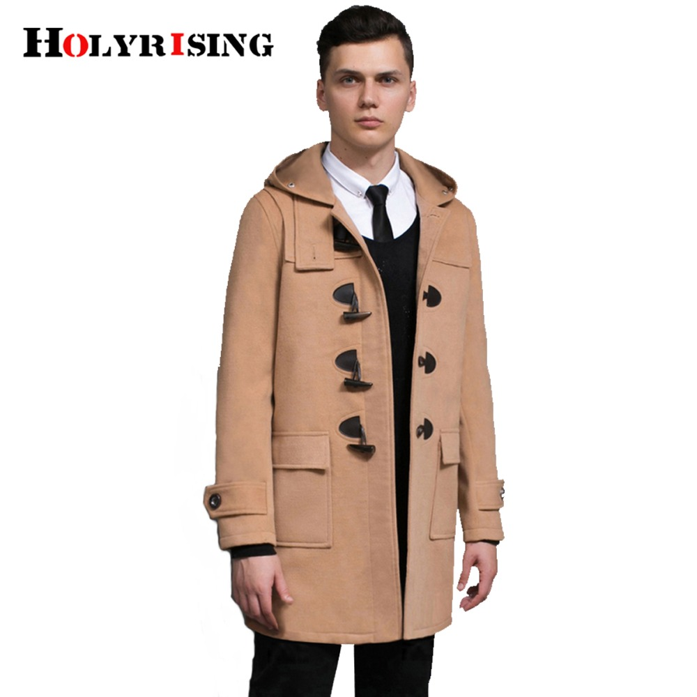 casaco masculino coat winter mens overcoat horns buckle men wool coat hooded homme jacket men outwear warm coat#18222 Holyrising