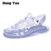 Women Jelly Shoes Lady S Beach Sandals Slippers Garden Shoes Comfortable Candy Color Hole Jelly Shoes