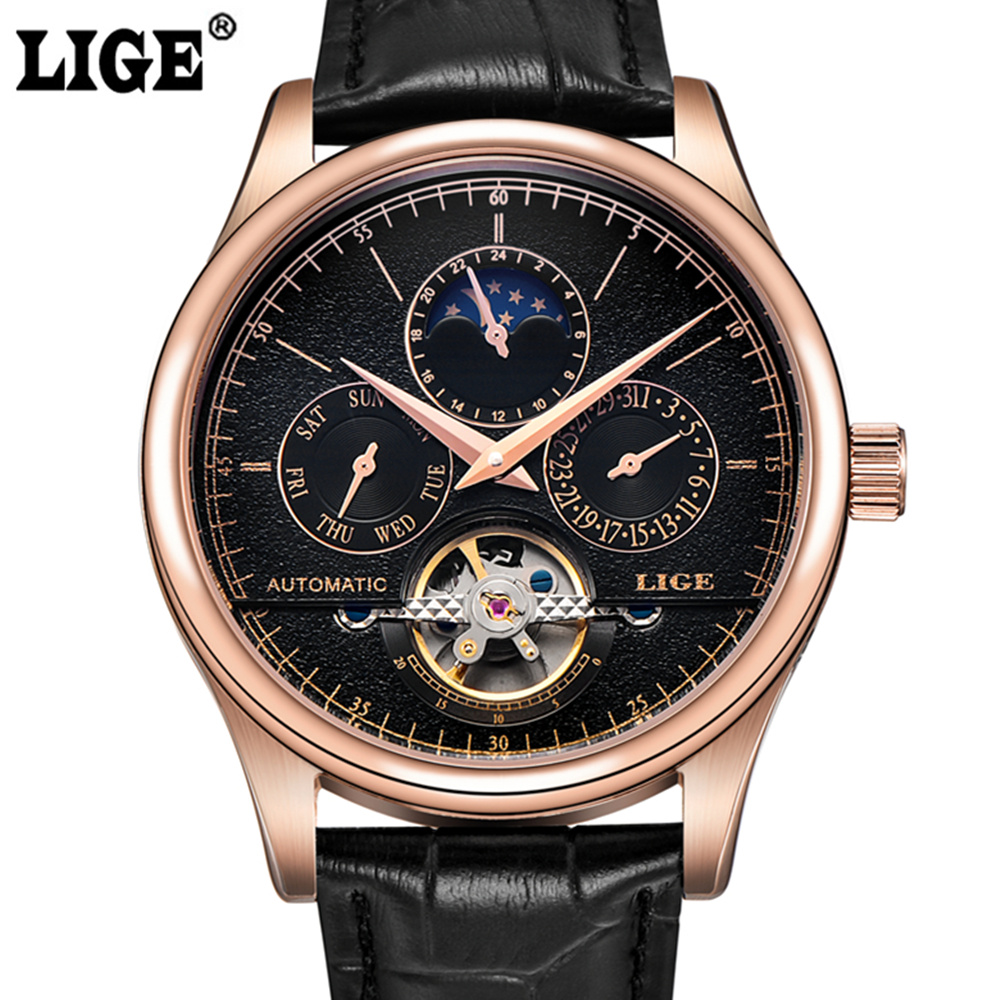 Mens watches Brand LIGE Luxury Automatic Mechanical Watch Tourbillon Clock Leather Casual Business Wristwatch Relogio Masculino mens watches top brand luxury lige 2017 men watch casual tourbillon automatic mechanical leather wristwatch relogio masculino