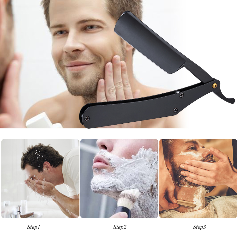 Stainless Steel Razor Straight Edge Barber Razor Folding Shaving Knife Hair Eyebrow Beard Shaver Barber Hair Shaving Accessories 5