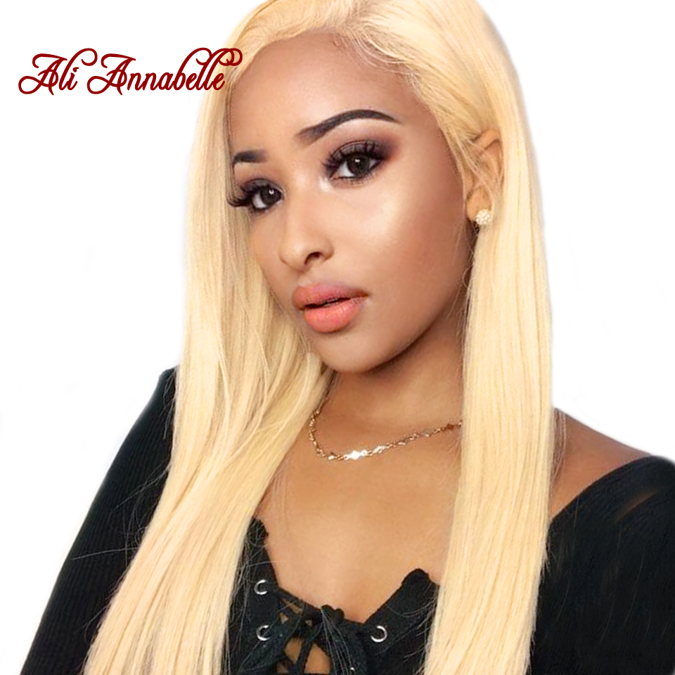 Ali Annabelle Hair 613 Malaysian Straight Hair Weave Bundles Full Blonde 1/3/4 Bundles Remy Human Hair Extensions Double Weft image