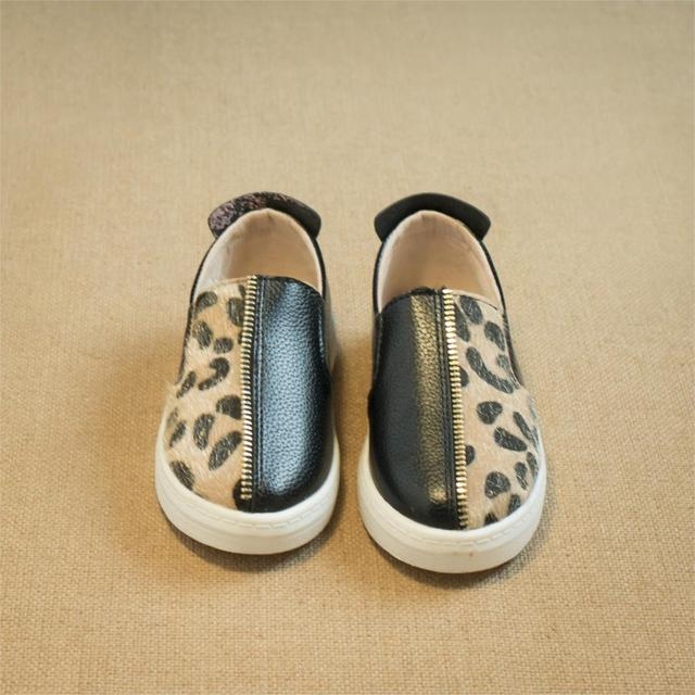 2015 autumn new children shoes boys girls shoes fashion leopard skin leather shoes casual slip on loafers shoes kids sneakers